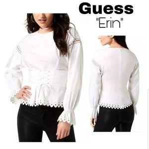 Guess Erin corset lace up cotton blouse. Sz Med
